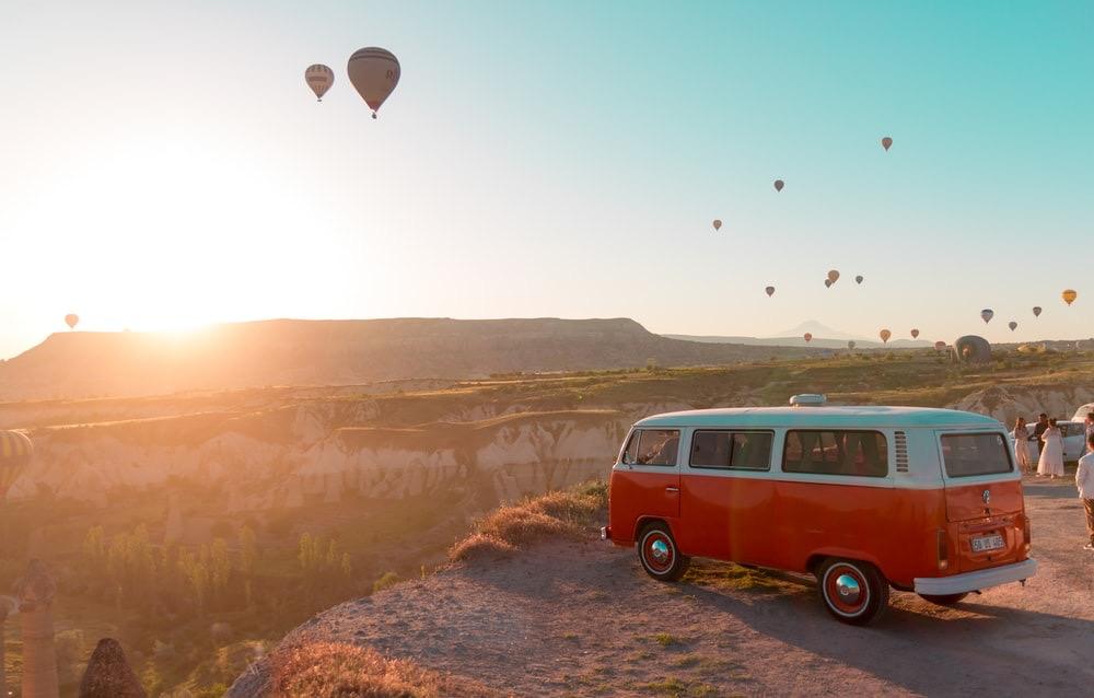 Sunset hot air balloons